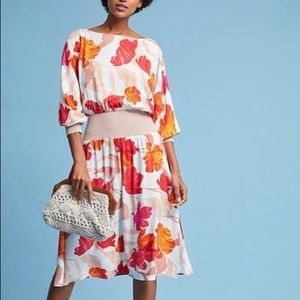 NWT Anthropologie Maeve Gemma Floral Dress Midi L
